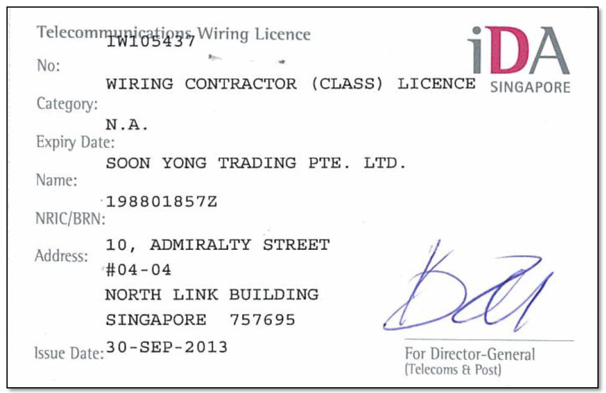 IDA-WIRING CONTRACTOR (CLASS) LICENCE SINGAPORE - ISSUE 30.09